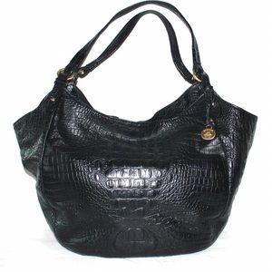 Brahmin Black Leather Croc Embossed Shoulder Bag